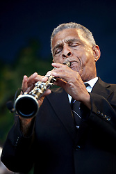 05 May 2012. New Orleans, Louisiana,  USA. .New Orleans Jazz and Heritage Festival. .Charlie Hall, clarinet player with 'Preservation Hall and Friends' ensemble. .Photo; Charlie Varley.