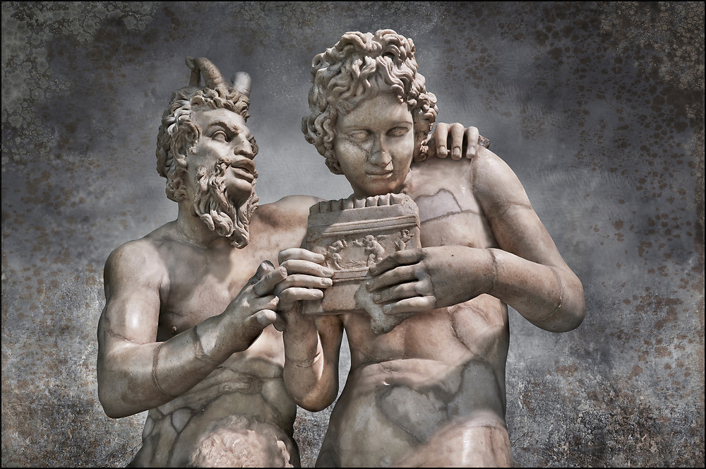 2nd century AD Roman marble sculpture of Pan teaching Daphnis to play the pipes, a Roman copy late 2nd century BC Hellenistic Geek original attributed to Rodes sculptor Heliodoros. Pan's and Daphnis' heads and Daphnis' right arm are restorations.  The Farnese collection, Naples Museum of Archaeology, Italy<br /> . Wall art print by Photographer Paul E Williams .<br /> <br /> If you prefer visit our World Gallery Print Shop To buy a selection of our prints and framed prints desptached  with a 30-day money-back guarantee and is dispatched from 16 high quality photo art printers based around the world. ( not all photos in this archive are available in this shop) https://funkystock.photoshelter.com/p/world-print-gallery
