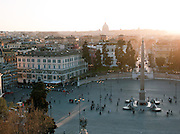 Piazza Del Popolo with Egyptian Obelisk of Ramesses II seen from the park at Villa Borghese, Rome, Italy.