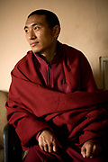 A Buddhist monk at the Vajra Vidya Institute for Buddhist studies in Sarnath, India