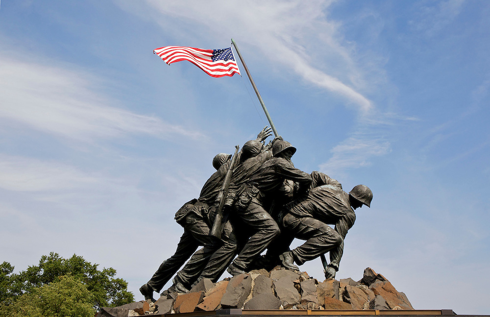 UNITED STATES-WASHINGTON DC-Arlington National Cemetery. Iwo Jima, The United States Marines Corps Memorial.VERENIGDE STATEN-WASHINGTON DC-Arlington National Cemetery. Iwo Jima, The United States Marines Corps Memorial. PHOTO GERRIT DE HEUS
