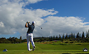January 10 2016: Jordan Spieth tees off on number fourteen during the Final Round of the Hyundai Tournament of Champions at Kapalua Plantation Course on Maui, HI. (Photo by Aric Becker)