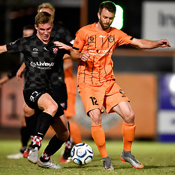 BRISBANE, AUSTRALIA - NOVEMBER 3: Ewan Macleod of the Knights and James Meyer of Eastern Suburbs compete for the ball during the NPL Queensland Senior Mens Round 9 match between Eastern Suburbs FC and Gold Coast Knights at Heath Park on November 3, 2020 in Brisbane, Australia. (Photo by Patrick Kearney)