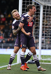 Craig Bryson ( R ) of Derby County celebrates after he scores to make it 1-1 - Mandatory byline: Paul Terry/JMP - 06/02/2016 - FOOTBALL - Craven Cottage - Fulham, England - Fulham v Derby County - Sky Bet Championship