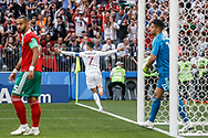 Cristiano Ronaldo of Portugal celebrates after his goal during the 2018 FIFA World Cup Russia, Group B football match between Portugal and Morocco on June 20, 2018 at Luzhniki stadium in Moscow, Russia - Photo Thiago Bernardes / FramePhoto / ProSportsImages / DPPI