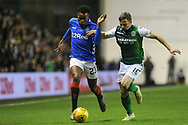 Lassana Coulibaly battles with Lewis Stevenson during the Ladbrokes Scottish Premiership match between Hibernian and Rangers at Easter Road, Edinburgh, Scotland on 19 December 2018.