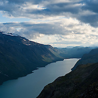 Lake Gjende viewed from Besseggen ridge, Jotunheimen national park, Norway.