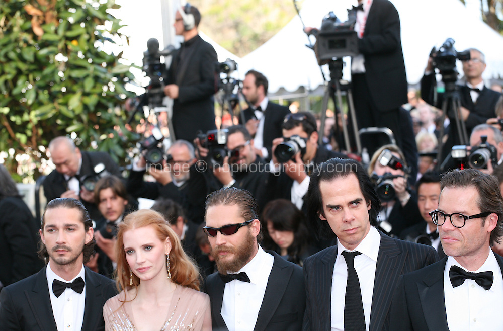 Shia Labeouf, Jessica Chastain, Tom Hardy, Nick Cave, Guy Pearce attend the gala screening of Lawless at the 65th Cannes Film Festival. The screenplay for the film Lawless was written by Nick Cave and Directed by John Hillcoat. Saturday 19th May 2012 in Cannes Film Festival, France.
