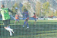 Stranda 20110501. Aalesunds Michael Barrantes scorer på et langskudd under cupkampen mellom Stranda og Aalesund i 1. runde av Norgesmesterskapet i fotball for herrer på Stranda Stadion søndag kveld.<br /> Foto: Svein Ove Ekornesvåg