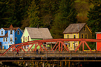 A bridge with the Creek Street historic district behind, Ketchikan, Southeast Alaska USA