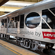 Photos of the train carrying the artists and performers from one gig to the next during the  of Station to Station tour, an artist-driven public art project made possible by Levi's.