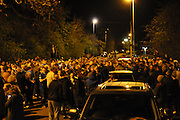 Crowds outside Jamie Vardy's house in Melton Mowbray after Leicester Won the league.<br /> ©Exclusivepix Media