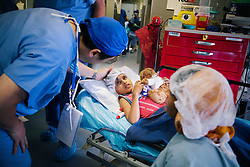 A young patient gets ready for an operation on the ORBIS Flying Eye Care Hospital in Kolkata, India.