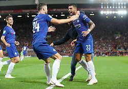 Chelsea's Emerson Palmieri (right) celebrates scoring his side's first goal of the game with team mate Chelsea's Gary Cahill during the Carabao Cup, Third Round match at Anfield, Liverpool.