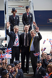 © London News Pictures. 04/07/2013 . London, UK.  Left to Right - Keith Williams, CEO of British Airways, Fabrice Bregier, President and CEO of Airbus and Sir Martin Broughton, Chairman of British Airways, leave the British Airways  Boeing A380 superjumbo as it arrives at Heathrow Airport. It was the first time British Airlines have taken delivery of the new plane, making British Airways the first European airline to operate both the 787 and A380. Photo credit : Ben Cawthra/LNP