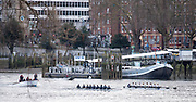 Putney. LONDON. GREAT BRITAIN. Both Crews at the start of the fixture, Oxford on the left. Pre Boat race Fixture, Oxford University Women's Boat Club vs Molesey Boat Club, over the Championship Course, Putney to Mortlake.<br /> <br /> Sunday  28.02.2016<br /> <br /> [Mandatory Credit; Peter SPURRIER/Intersport Images]