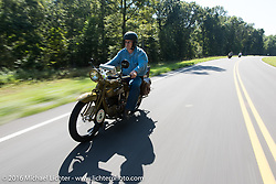 Jeff Tiernan riding his 1929 Henderson KJ during Stage 5 of the Motorcycle Cannonball Cross-Country Endurance Run, which on this day ran from Clarksville, TN to Cape Girardeau, MO., USA. Tuesday, September 9, 2014.  Photography ©2014 Michael Lichter.