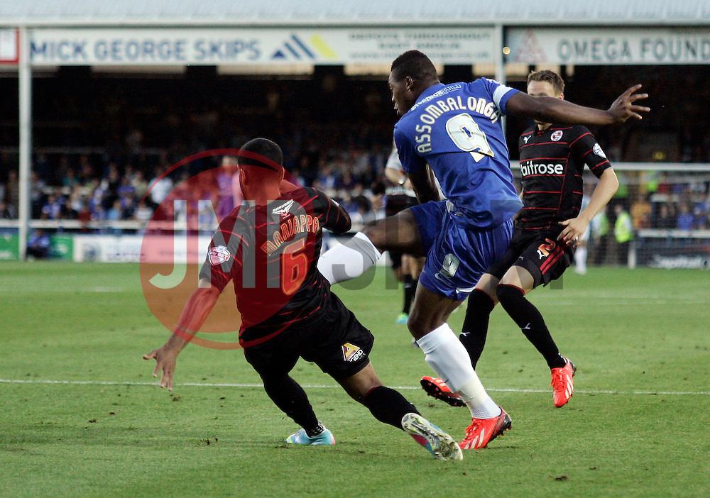 Peterborough United's Britt Assombalonga scores the opening goal  - Photo mandatory by-line: Joe Dent/JMP - Tel: Mobile: 07966 386802 27/08/2013 - SPORT - FOOTBALL - London Road Stadium - Peterborough - Peterborough V Reading -  Capital One Cup - Round 2