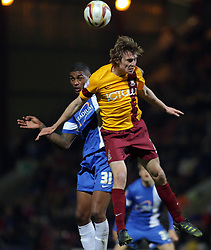 Peterborough United's Mark Little in action with Bradford City's Stephen Darby  - Photo mandatory by-line: Joe Dent/JMP - Mobile: 07966 386802 18/04/2014 - SPORT - FOOTBALL - Bradford - Valley Parade - Bradford City v Peterborough United - Sky Bet League One