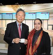 Pictured at the Holiday World Show Ambassador Reception was from left to right: Hu Ambassador of Korea and Vijay Thakur Singh Ambassador of India.<br />Photograph: Aidan Crawley