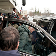 Democratic presidential candidate Bernie Sanders leaves after addressing supporters during a get out the vote canvas launch in Hudson, N.H., on Monday, February 10, 2020.