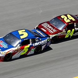 April 17, 2011; Talladega, AL, USA; NASCAR Sprint Cup Series driver Jeff Gordon (24) drafts Mark Martin (5) during the Aarons 499 at Talladega Superspeedway.   Mandatory Credit: Derick E. Hingle