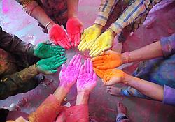 March 6, 2017 - Mathura, Uttar Pradesh, India -  People enjoy the annual Hindu festival of colors, known as Holi, at Radha Rani temple. (Credit Image: © Prabhat Kumar Verma via ZUMA Wire)
