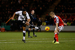 The shot from Korey Smith of Bristol City is blocked by Harry Davis of Crewe Alexandra - Photo mandatory by-line: Rogan Thomson/JMP - 07966 386802 - 20/12/2014 - SPORT - FOOTBALL - Crewe, England - Alexandra Stadium - Crewe Alexandra v Bristol City - Sky Bet League 1.