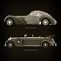 For the lover of old classic cars, this combination of a Bugatti 57-SC Atlantic 1938 and Mercedes 770-K Limousine 1938 is truly a beautiful work to have in your home.<br /> The classic Bugatti 57-SC  and the beautiful Mercedes 770-K are among the most beautiful cars ever built.<br /> You can have this work printed in various materials and without loss of quality in all formats.<br /> For the oldtimer enthusiast, the series by the artist Jan Keteleer is a dream come true. The artist has made a fine selection of the very finest cars which he has meticulously painted down to the smallest detail. – –<br /> -<br /> <br /> BUY THIS PRINT AT<br /> <br /> FINE ART AMERICA<br /> ENGLISH<br /> https://janke.pixels.com/featured/bugatti-57-sc-atlantic-1938-and-mercedes-770-k-limousine-1938-jan-keteleer.html<br /> <br /> WADM / OH MY PRINTS<br /> DUTCH / FRENCH / GERMAN<br /> https://www.werkaandemuur.nl/nl/shopwerk/Bugatti-57-SC-Atlantic-1938-en-Mercedes-770-K-Limousine-1938/755136/132?mediumId=1&size=60x60<br /> –