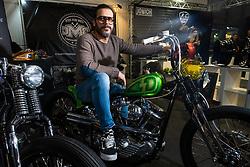 Demi Piccolo of DMC Motorcycles in Italy on his custom 1956 Harley-Davidson Panhead chopper at Motor Bike Expo (MBE) bike show. Verona, Italy. Saturday, January 18, 2020. Photography ©2020 Michael Lichter.