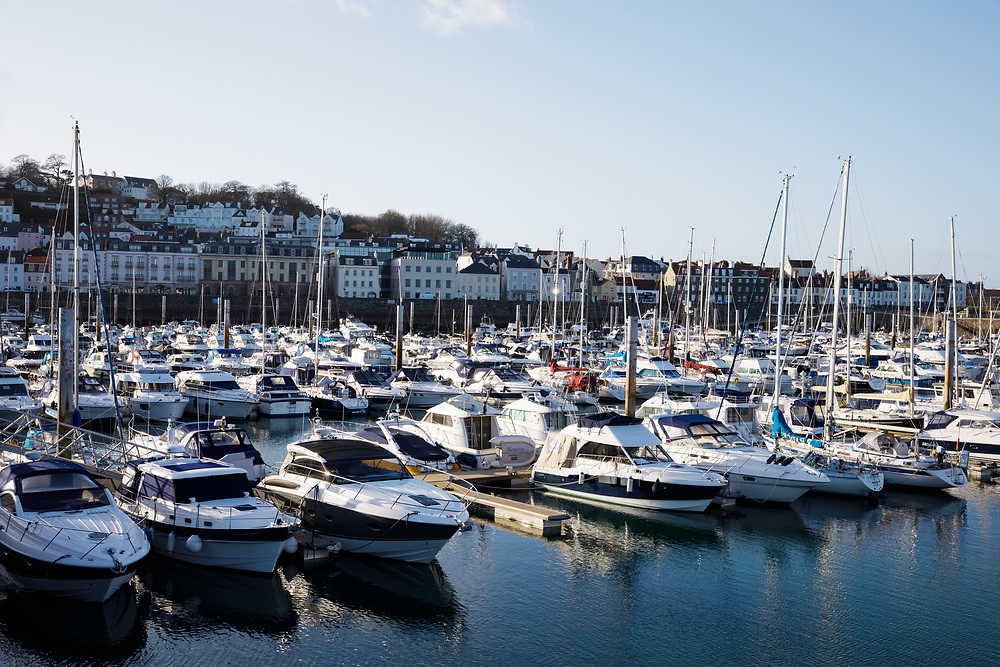 Housing, apartments and flats with seaviews of the marina in St Peter Port, Guernsey, Channel Islands