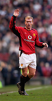 Photo. Jed Wee.<br /> Manchester United v Manchester City, FA Barclaycard Premiership, Old Trafford, Manchester. 13/12/03.<br /> He's back. Paul Scholes returns to action for Manchester United with a brace of goals.
