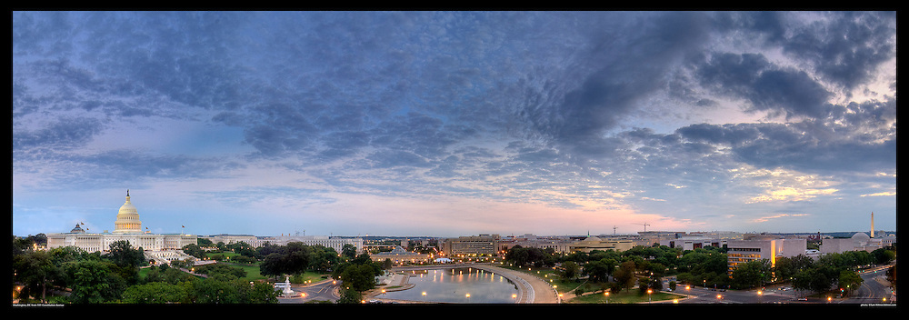 Spectacular panoramic photograph of Washington, DC.  Includes U.S. Capitol, National Gallery of Art, Washington Monument, Constitution Avenue.  Print Size (in inches): 15x5; 24x8.5; 36x12.5; 48x17; 60x21; 72x25.
