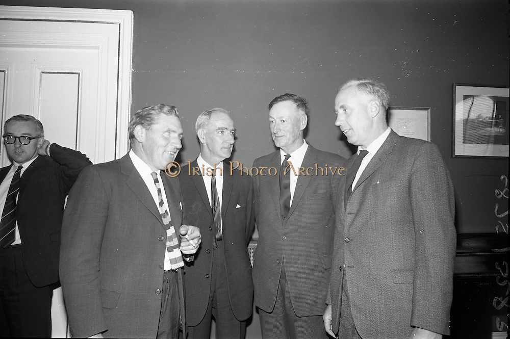 18/07/1967<br /> 07/18/1967<br /> 18 July 1967<br /> NFA meeting in the Shelbourne Hotel, Dublin. Pictured at the meeting were (l-r): Mr. William Carroll, Vice President, I.A.O.S., Clonmel; Mr. John Donelon, Chairman National Pigs Committee, NFA; Mr. Denis Murphy, I.A.O.S., Mitchelstown, Co. Cork and Mr. Michael Delahunty, Clonmel, Pigs and Bacon Commission.