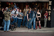 Johnny Shaver and Mallory Barton lead the group during an open carry long rifle march demonstrating their 2nd amendment right to keep and bear arms on Thursday, January 31, 2013 in Fort Worth, Texas. (Cooper Neill/The Dallas Morning News)