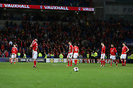 Wales players stand and can't bear to look as they are dejected at final whistle after losing the match and their world cup dream is over. Wales v Rep of Ireland , FIFA World Cup qualifier , European group D match at the Cardiff city Stadium in Cardiff , South Wales on Monday 9th October 2017. pic by Andrew Orchard, Andrew Orchard sports photography