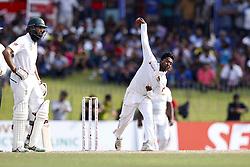 July 22, 2018 - Colombo, Sri Lanka - Sri Lankan cricketer Akila Dananjaya delivers a ball during the 3rd day's play in the 2nd test cricket match between Sri Lanka and South Africa at SSC International Cricket ground, Colombo, Sri Lanka on Sunday  22 July 2018  (Credit Image: © Tharaka Basnayaka/NurPhoto via ZUMA Press)