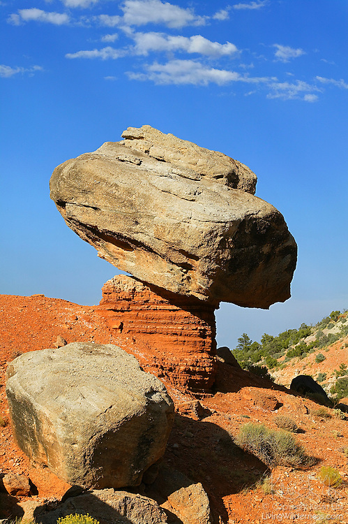A large rock is balanced on a sandstone pillar in the Hartnet Draw of Capitol Reef National Park, Utah. Balanced rocks form when a layer of more durable rock sits atop a layer that is less resistant to erosion.