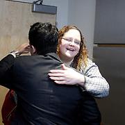 Valgas meets by-chance with Ilena Cintron, she is a member of the Democratic MA Caucause.<br /> <br /> Andy Valgas, 22 from Haverhill is the newest elected city council. He is also the first Latino elected to a government position in the city history. <br /> <br /> ----------------------------------<br /> Andy Valgas, es un recien elegido al  City Council de Haverhill. El recibe una calurosa bienvenida a WBUR,  NPR  - National Public Radio - Boston. Fue entrevistado por Simón Rios. Valgas conversó brevemente con Ileana Cintron de Kennedy School of Goverment y con el reportero Bruce Gellermen.