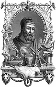 Archimedes (c287-212 BC) Ancient Greek mathematician and inventor. Artist's impression of him surrounded by his discoveries and inventions. Engraving published Paris 1866.