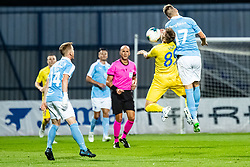 Slobodan Vuk of NK Domzale and Rasmus Bengtsson of Malmo FF during Football match between NK Domzale and Malmo FF in Second Qualifying match of UEFA Europa League 2019/2020, on July 25th, 2019 in Sports park Domzale, Domzale, Slovenia. Photo by Grega Valancic / Sportida