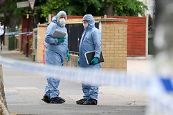© Licensed to London News Pictures. 28/05/2019. London, UK. London, UK. Forensic officers on Romford Road, Forest Gate, East London where a man in his 30s died in the early hours of this morning following a flight on Warwick Road.<br /> Police officers were called after the victim was found suffering from stab injuries and he died later in the hospital. Photo credit: Dinendra Haria/LNP CAPTION UPDATED WITH CORRECT DATE