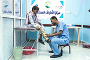 """Mcc0081437 . Daily Telegraph<br /> <br /> DT Foreign<br /> <br /> 13 yr old Naji Nasser lost his leg to a landmine .<br /> <br /> The orthopaedic ward in a hospital in the government held town of Marib , over 100 miles from the county's capital Sanaa which is in the hands of the Houthi rebels . <br /> The country has been in the midst of a civil war since 2015 when the President Abdrabbuh Mansur Hadi was forced to flee . A Saudi led coalition with 9 other Arab states  named """"Operation Decisive Storm """"  has since sought to restore Hadi with little effect .<br /> <br /> Yemen 20 February"""