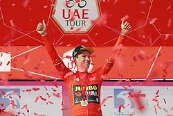 February 24, 2019 - Abu Dhabi, UNITED ARAB EMIRATES - Slovenian Primoz Roglic of Team Jumbo-Visma celebrates on the podium after winning the first stage of the 'UAE Tour' 2019 cycling race, a 16km team time trial on the Al Hudayriat Island in Abu Dhabi, United Arab Emirates, Sunday 24 February 2019. This year's edition is taking place from 24 February to 2 March. ..BELGA PHOTO YUZURU SUNADA FRANCE OUT (Credit Image: © Yuzuru Sunada/Belga via ZUMA Press)