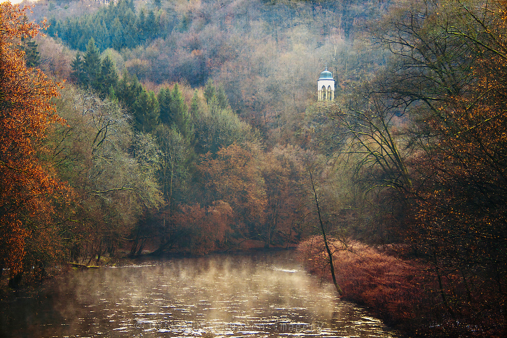 River Wupper near Müngsten with view of a well known belvedere.