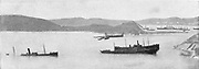 Russo-Japanese War 1904-1905:  Sunken Japanese vessel blockading ships at the harbour entrance of Port Arthur.