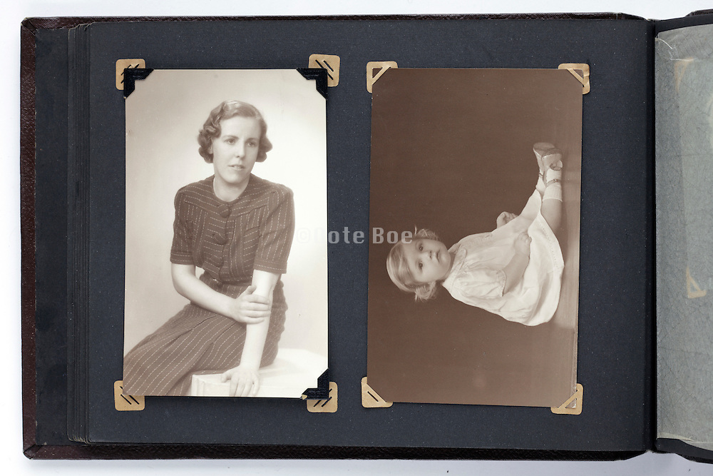 photo album page with mother and child studio vintage portrait image from the 1930s