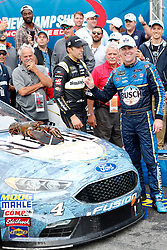 July 22, 2018 - Loudon, NH, U.S. - LOUDON, NH - JULY 22: Kevin Harvick, Monster Energy NASCAR Cup Series driver of the Busch Beer Ford (4), with Loudon the lobster on the hood of his car after winning the Foxwoods Resort Casino 301 on July 22, 2018, at New Hampshire Motor Speedway in Loudon, New Hampshire. (Photo by Fred Kfoury III/Icon Sportswire) (Credit Image: © Fred Kfoury Iii/Icon SMI via ZUMA Press)