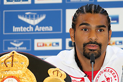 10.05.2011, Imtech Arena, Hamburg, GER, WBO und IBF WM, Wladimir Klitschko vs David Haye, Presse Conference, im Bild Boxer David Haye during the press conferece of the boxing heavyweight unification fight  Wladimir Klitschko vs. David Haye at Imtech Arena. EXPA Pictures © 2011, PhotoCredit: EXPA/ EXPA/ Newspix/ Future Images +++++ ATTENTION - FOR AUSTRIA/(AUT), SLOVENIA/(SLO), SERBIA/(SRB), CROATIA/(CRO), SWISS/(SUI) and ..SWEDEN/(SWE) CLIENT ONLY +++++ / SPORTIDA PHOTO AGENCY