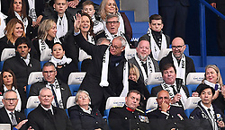 Former Leicester City Manager Claudio Ranieri (center) in the stands during the Premier League match at the King Power Stadium, Leicester.